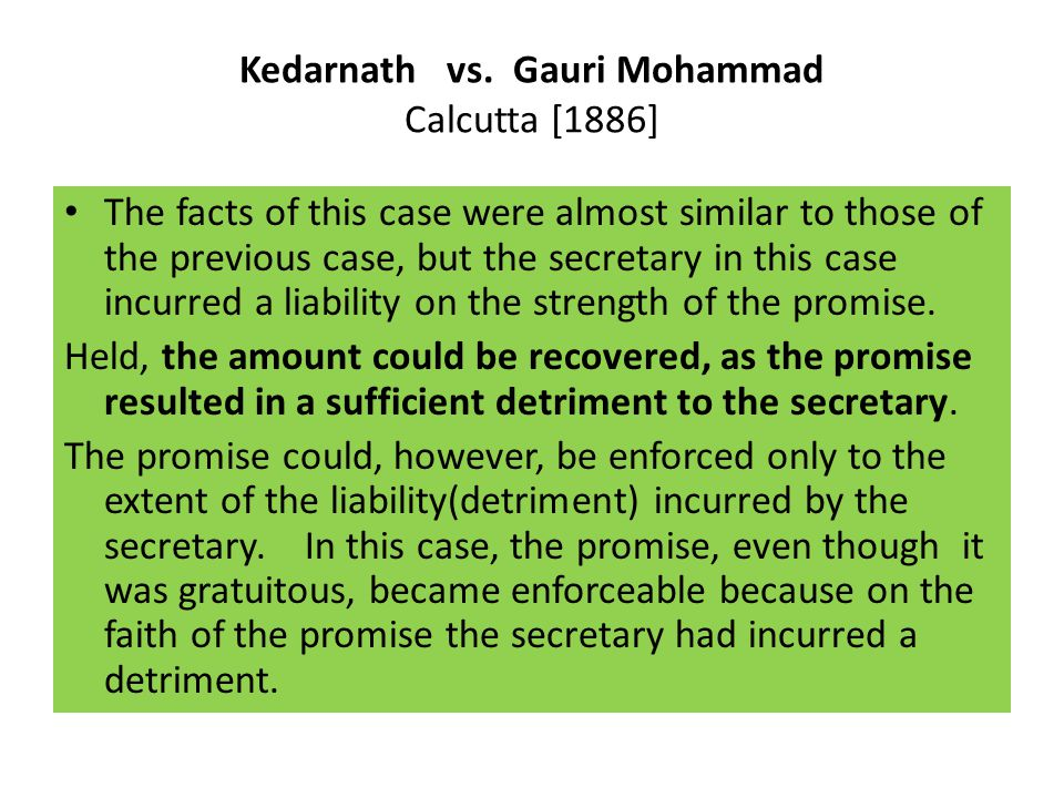 Kedarnath vs. Gauri Mohammad Calcutta [1886]